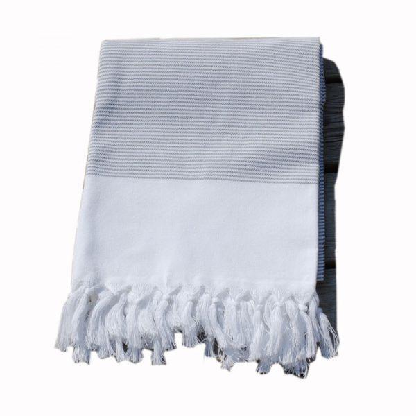 Randig grå handduk