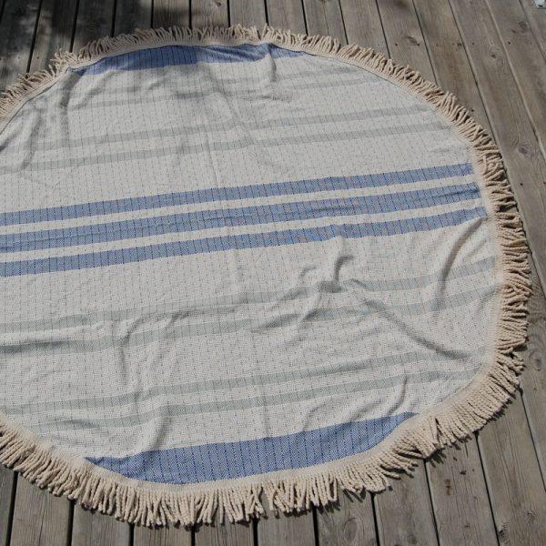 Rund hamam handduk i blått o vitt