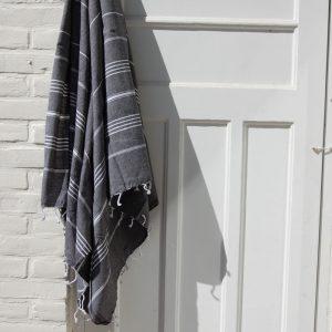 Mörkgrå hamam handduk