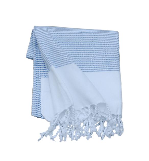 Stripy blue hamamhandduk
