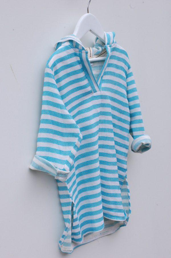 Blå strandtunika för barn med huva
