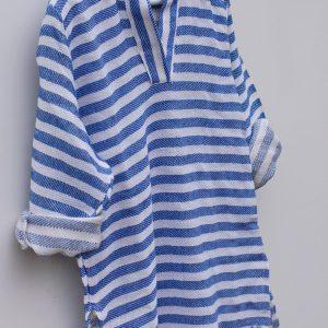Blå strandtunika för barn med huva e8cc1bb9f3690