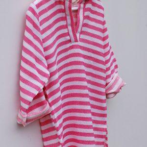 Rosa strandtunika för barn med huva