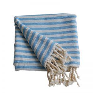 Tulum blå randig hamamhandduk