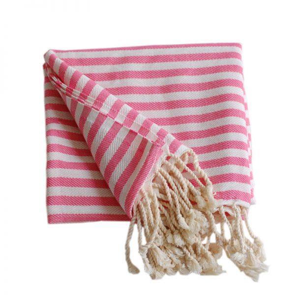 Tulum rosa randig hamamhandduk