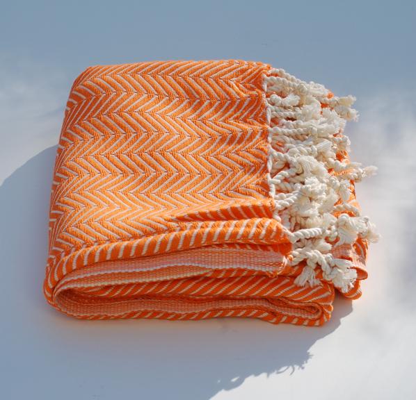 Orange monochrome hamamhandduk
