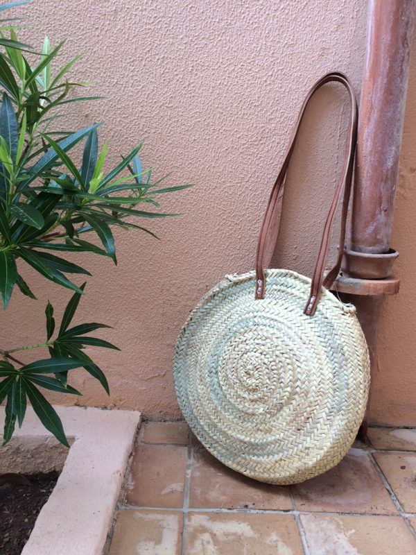 basket with leather and straw