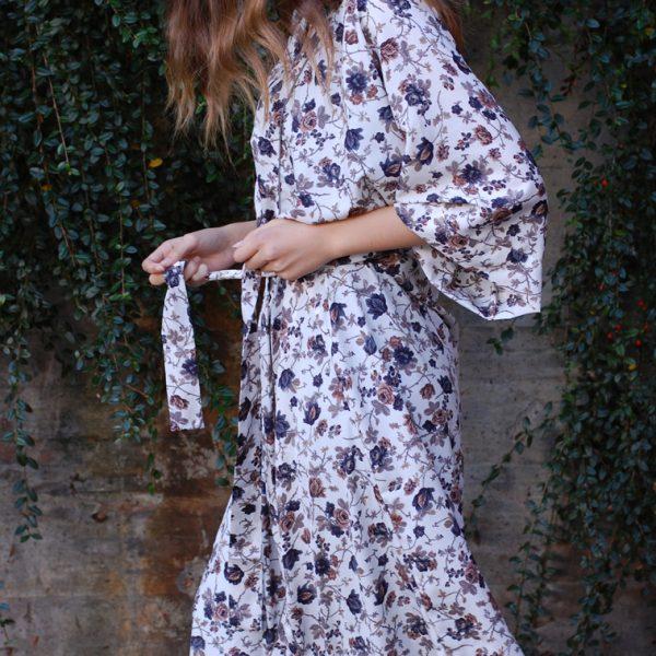 Vitblå kimono